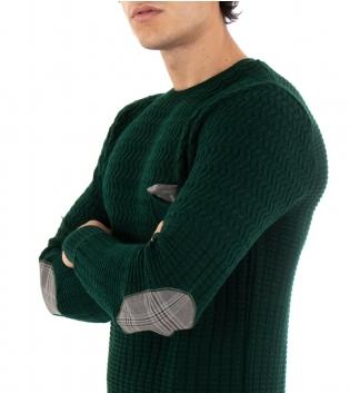 Maglione Uomo Paul Barrell Tinta Unita Verde Taschino Pochette Toppe Pullover Maniche Lunghe GIOSAL