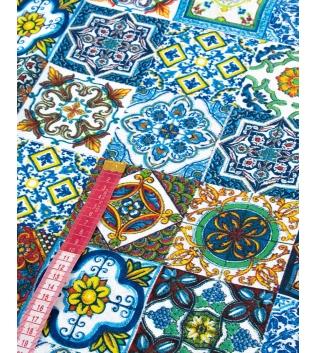 Tessuto Cotone Arredo Casa Fantasia Vietrese Blu Multicolore Al Metro Scampolo GIOSAL