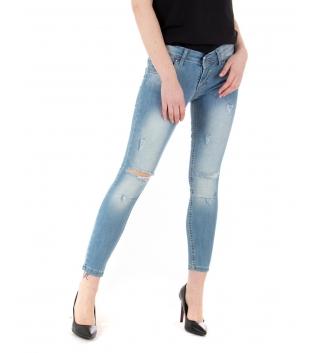 Pantalone Donna Denim Chiaro Sfumato Tagli Ginocchia Skinny Casual GIOSAL