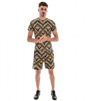 Completo Tuta T-shirt Bermuda Elastico Fondo Nero Fantasia Oro Casual GIOSAL-Fondo Nero-L