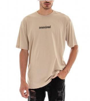 T-shirt Uomo Maglia Maniche Corte Over Size Tinta Unita Stampa Cotone Girocollo GIOSAL-Beige-TAGLIA UNICA