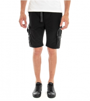 Bermuda Uomo Shorts Pantaloncino Cargo Tinta Unita Nero Elastico GIOSAL