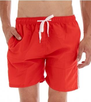 Costume Da Bagno Summer Pantaloncino Boxer Elastico Tinta Unita Righe Rosso GIOSAL