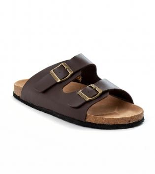 Sandalo Uomo Aperto Casual Doppia Fibia Tinta Unita Marrone GIOSAL