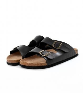 Sandalo Uomo Aperto Casual Doppia Fibia Tinta Unita Nero GIOSAL