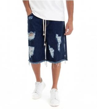 Bermuda Uomo Jeans Corto Shorts Denim Blu Scuro Over Size Rotture Elastico GIOSAL