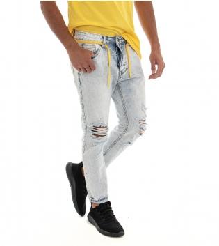 Jeans Uomo Pantalone Lungo Denim Chiaro Rotture Cavallo Basso Cinque Tasche GIOSAL
