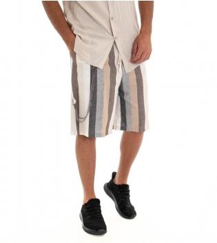 Bermuda Uomo Shorts Lino Pantaloncino Righe Rigato Elastico GIOSAL