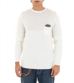 Maglione Uomo Paul Barrell Tinta Unita Bianco Taschino Pochette Toppe Pullover Maniche Lunghe GIOSAL
