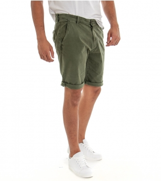 Bermuda Uomo Cotone Classico Pantaloncino Tasca America Tinta Unita Verde Militare GIOSAL