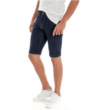 Bermuda Uomo Denim Scuro Jeans Slim Fit Cinque Tasche Pantaloncino Classico GIOSAL