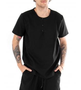 Camicia Uomo Tinta Unita Maniche Corte Nera Girocollo Casual GIOSAL