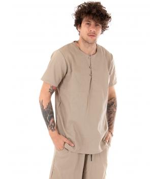 Camicia Uomo Tinta Unita Maniche Corte Beige Girocollo Casual GIOSAL