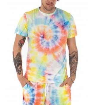 T-shirt Uomo Tie Dye Multicolore Black Svnday Arcobaleno Maniche Corte Girocollo GIOSAL