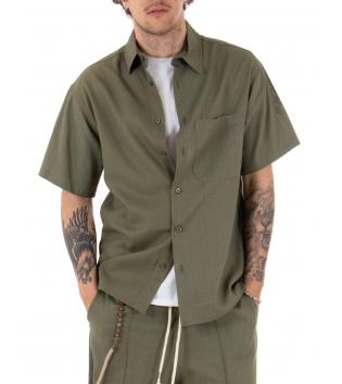 Camicia Uomo Maniche Corte Lino Tinta Unita Verde Tasca Casual Colletto GIOSAL-Verde-S