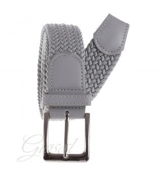 Cintura Uomo Elastica Regolabile Fibbia In Metallo Tinta Unita Grigio Chiaro GIOSAL