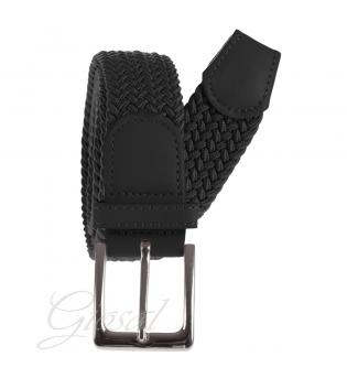 Cintura Uomo Elastica Regolabile Fibbia In Metallo Tinta Unita Nero GIOSAL