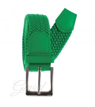 Cintura Uomo Elastica Regolabile Fibbia In Metallo Tinta Unita Verde GIOSAL