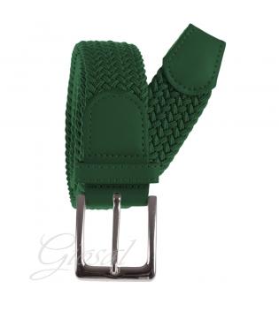 Cintura Uomo Elastica Regolabile Fibbia In Metallo Tinta Unita Verde Scuro GIOSAL