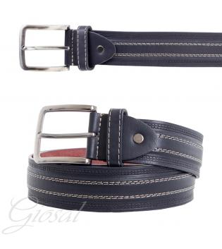 Cinta Uomo Ecopelle Cintura Regolabile Blu Righe Rigata Accessorio Casual Abbigliamento GIOSAL