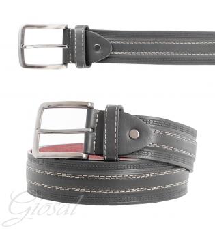 Cinta Uomo Ecopelle Cintura Regolabile Grigia Righe Rigata Accessorio Casual Abbigliamento GIOSAL