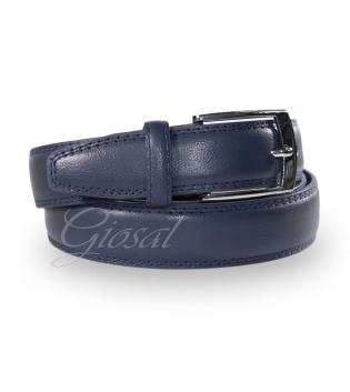Cinta Uomo Cintura Regolabile Blu Ecopelle Tinta Unita con Fibbia in Metallo GIOSAL