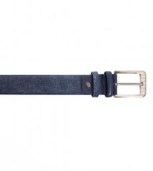 Cinta Uomo Cintura Regolabile Dettagli in Ecopelle Fibbia in Metallo Blu GIOSAL