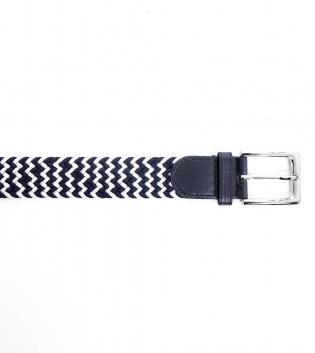 Cinta Uomo Elastica Bicolore Blu Bianco Spina di Pesce Cintura Regolabile GIOSAL