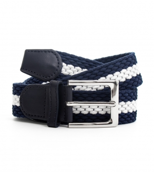 Cinta Uomo Elastica Righe Bicolore Blu Bianco Cintura Regolabile GIOSAL