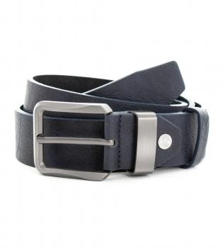 Cinta Uomo Ecopelle con Fibbia in Acciaio Tinta Unita Blu Cintura Regolabile GIOSAL