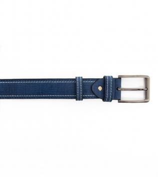 Cinta Uomo con Fibbia in Acciaio Tinta Unita Blu Ecopelle Cintura Regolabile GIOSAL