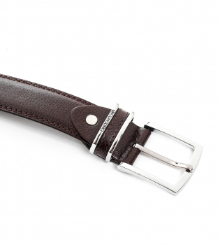Cinta Uomo in Ecopelle H3,5cm Tinta Unita Marrone con Fibbia in Metallo Cintura Ecopelle Regolabile GIOSAL