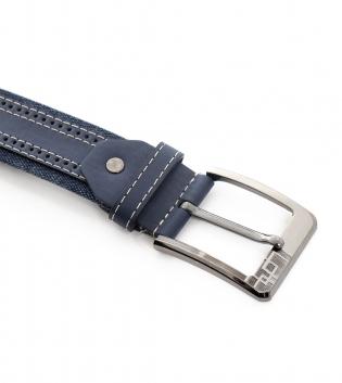 Cintura Uomo Tessuto Ecopelle Blu con Fibbia in Metallo Cinta Regolabile GIOSAL
