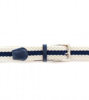 Cinta Uomo con Fibbia in Metallo Bicolore Bianco Blu Intrecciata Cintura Regolabile GIOSAL