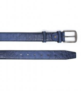 Cintura Ecopelle Martellata Blu Fibia Metallo Regolabile GIOSAL