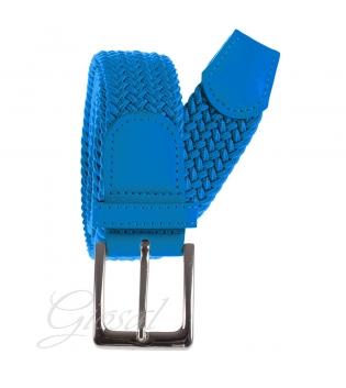 Cintura Uomo Elastica Regolabile Fibbia In Metallo Tinta Unita Azzurra GIOSAL