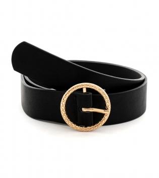 Cintura Donna Cinta Accessori Tinta Unita Nera Fibbia Rotonda Metallo Oro GIOSAL