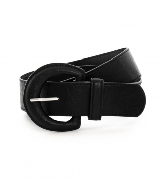 Cintura Donna Alta Tinta Unita Nera Fibbia Ovale Accessori GIOSAL