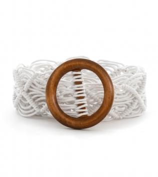 Cintura Donna Intrecciata Bianco Accessori Fibbia Rotonda GIOSAL