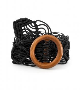 Cintura Donna Intrecciata Nero Accessori Fibbia Rotonda GIOSAL