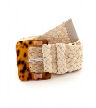 Cintura Donna Intrecciata Beige Fibbia Paglia Accessori GIOSAL
