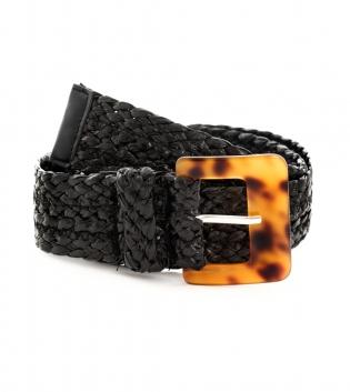 Cintura Donna Intrecciata Nera Fibbia Paglia Accessori GIOSAL