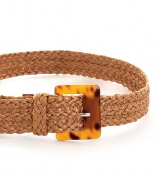 Cintura Donna Intrecciata Camel Fibbia Paglia Accessori GIOSAL