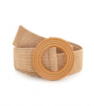 Cintura Donna Intrecciata Camel Fibbia Rotonda Paglia Accessori GIOSAL