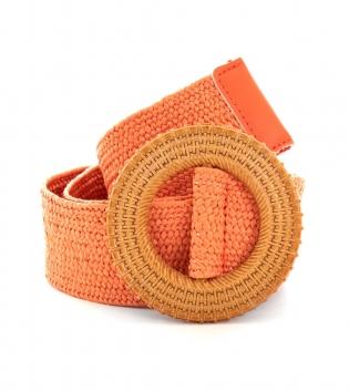 Cintura Donna Intrecciata Arancione Fibbia Rotonda Paglia Accessori GIOSAL