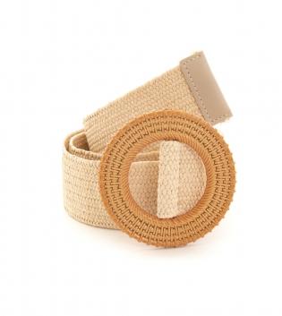 Cintura Donna Intrecciata Beige Fibbia Rotonda Paglia Accessori GIOSAL