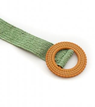 Cintura Donna Intrecciata Verde Fibbia Rotonda Paglia Accessori GIOSAL