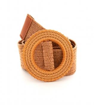 Cintura Donna Intrecciata Cuoio Fibbia Rotonda Paglia Accessori GIOSAL