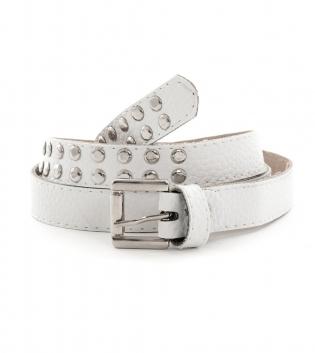 Cintura Donna Cinta Bianca Sottile Accessori Fibia Metallo Borchie GIOSAL