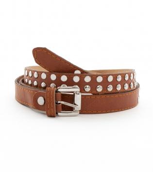 Cintura Donna Cinta Cuoio Sottile Accessori Fibbia Metallo Borchie GIOSAL